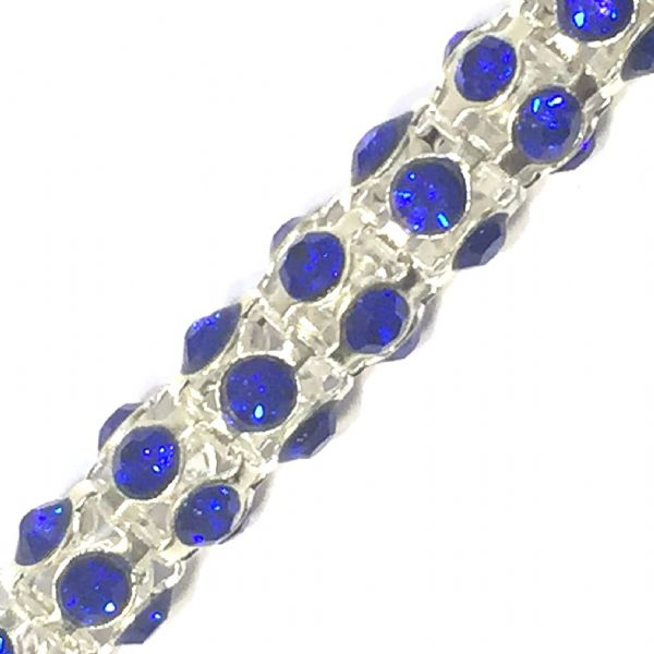 Sapphire blue rhinestone silver plated reticulated chain